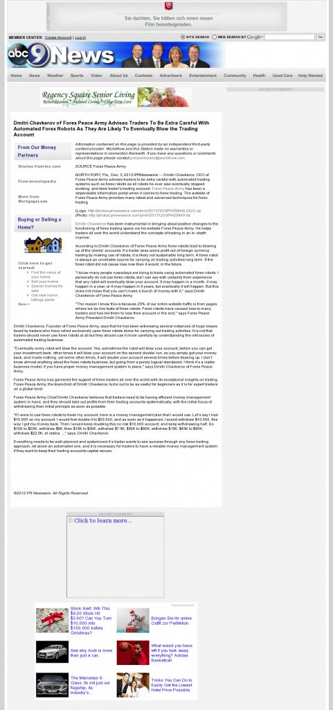 Trading Robots will Blow Trading Account KCAU ABC-9 (Sioux City, IA) by Dmitri Chavkerov