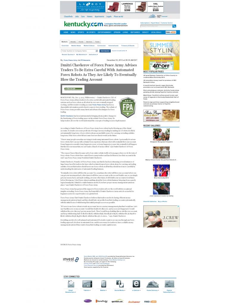 Trading Robots will Blow Trading Account Lexington Herald-Leader (Lexington, KY) by Dmitri Chavkerov
