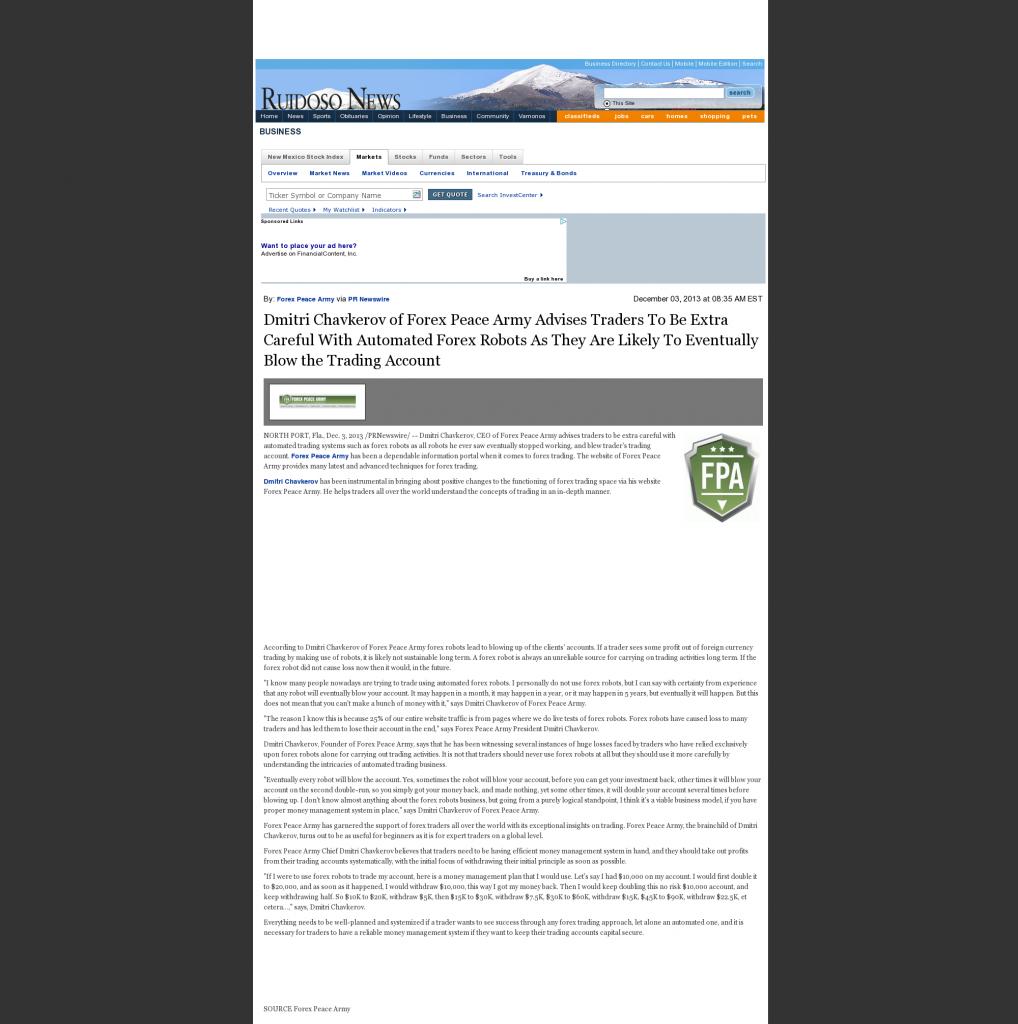 Trading Robots will Blow Trading Account Ruidoso News (Ruidoso, NM) by Dmitri Chavkerov