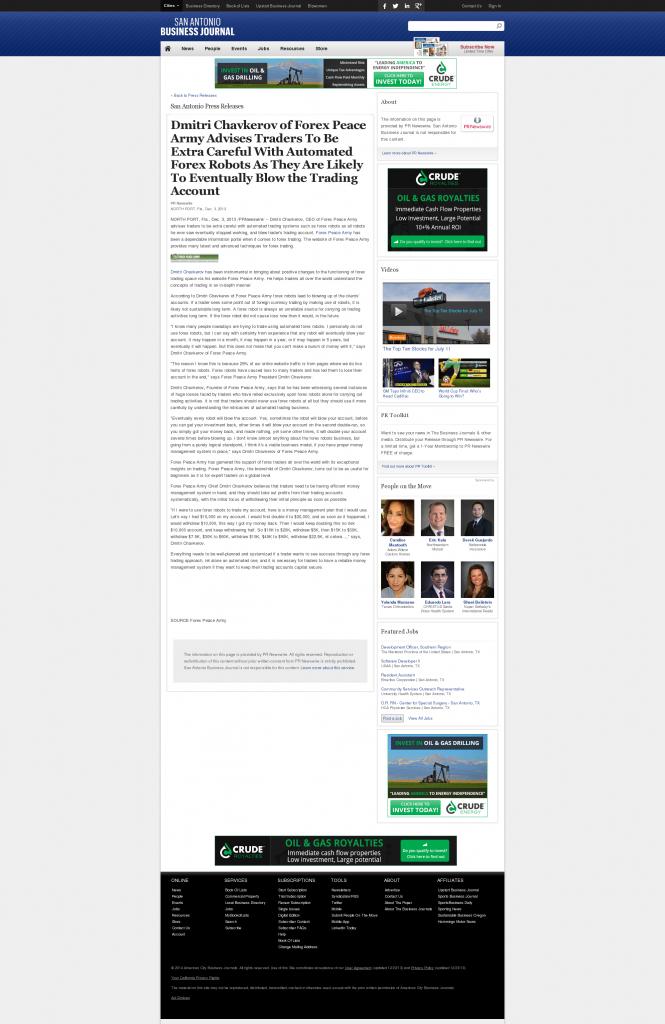Trading Robots will Blow Trading Account San Antonio Business Journal by Dmitri Chavkerov