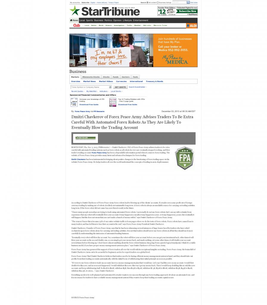 Trading Robots will Blow Trading Account Star Tribune (Minneapolis, MN) by Dmitri Chavkerov