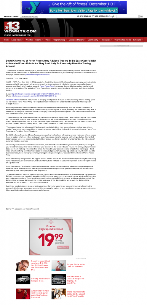 Trading Robots will Blow Trading Account WOWK-TV CBS 13 (Huntington, WV) by Dmitri Chavkerov