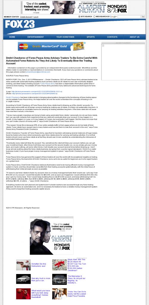 Trading Robots will Blow Trading Account WPFO-TV FOX-23 (Portland, ME) by Dmitri Chavkerov
