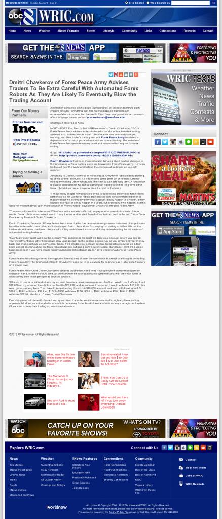 Trading Robots will Blow Trading Account WRIC ABC-8 (Richmond, VA) by Dmitri Chavkerov
