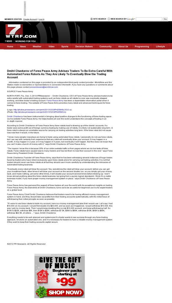 Trading Robots will Blow Trading Account WTRF-TV CBS-7 (Wheeling, WV) by Dmitri Chavkerov