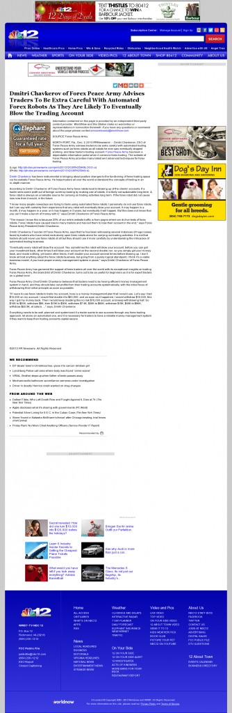 Trading Robots will Blow Trading Account WWBT NBC-12 (Richmond, VA) by Dmitri Chavkerov