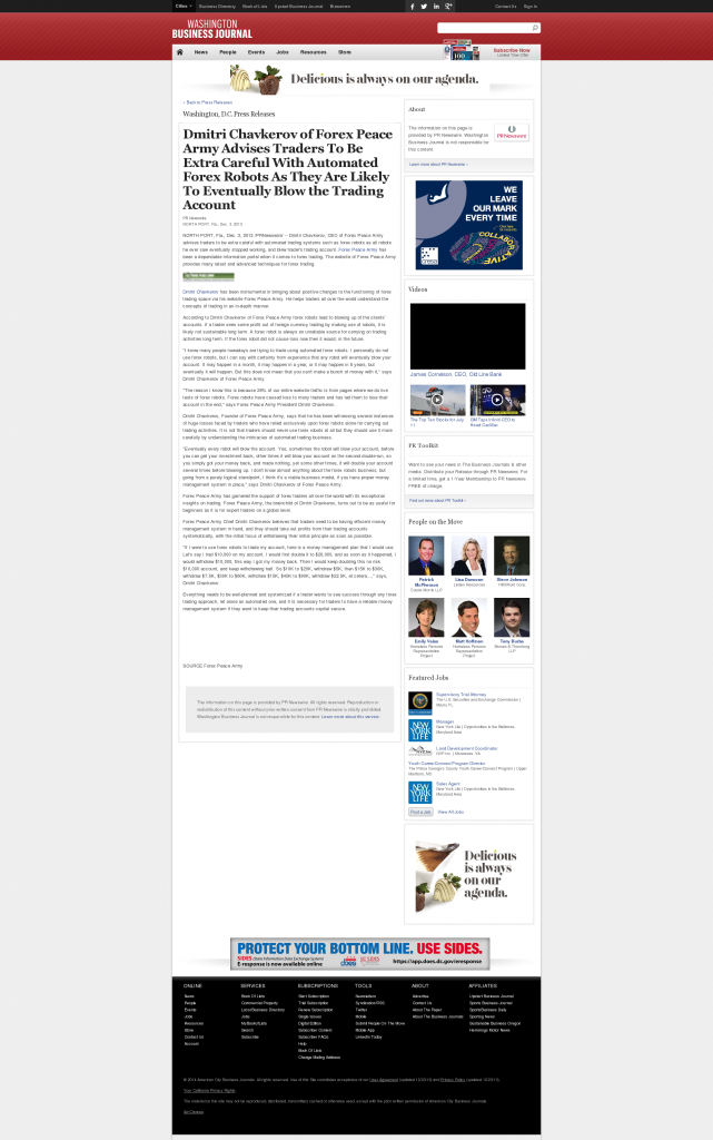 Trading Robots will Blow Trading Account Washington Business Journal by Dmitri Chavkerov
