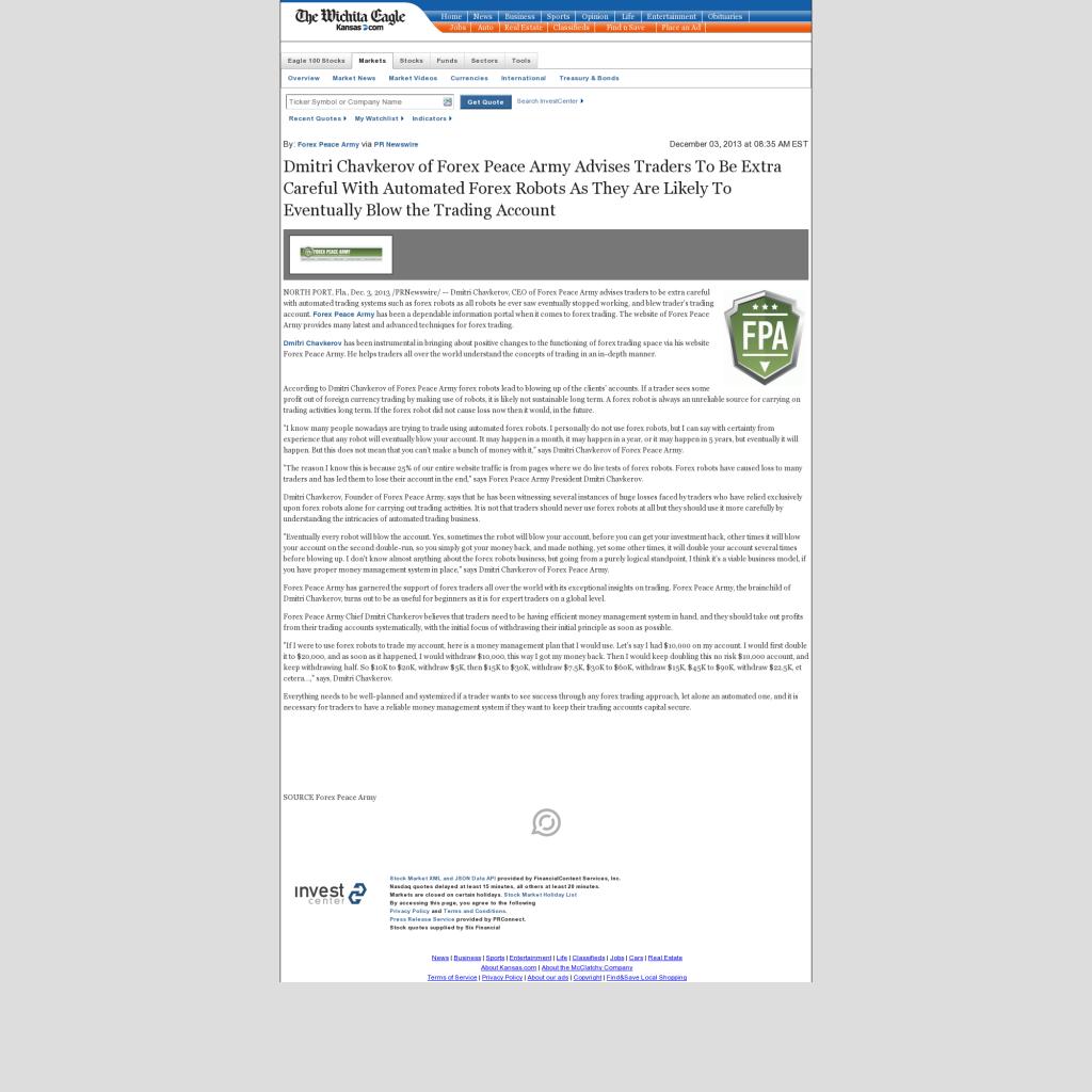 Trading Robots will Blow Trading Account Wichita Eagle (Wichita, KS) by Dmitri Chavkerov