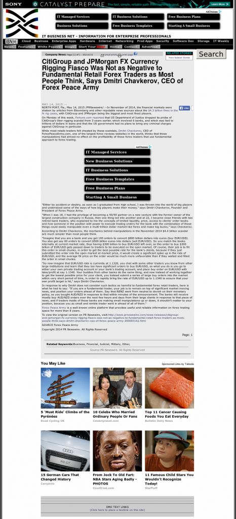 CitiGroup and JPMorgan Currency Rigging ITBusinessNet.com by Dmitri Chavkerov