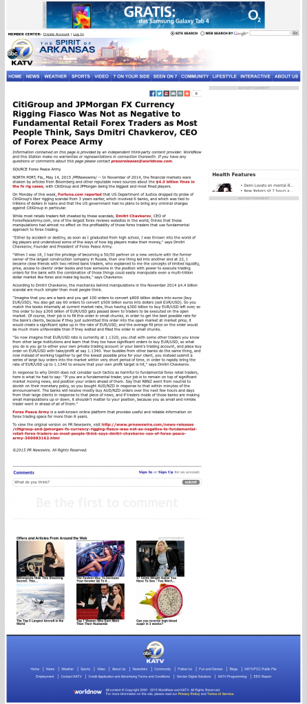 CitiGroup and JPMorgan Currency Rigging KATV-TV ABC-7 (Little Rock, AR) by Dmitri Chavkerov