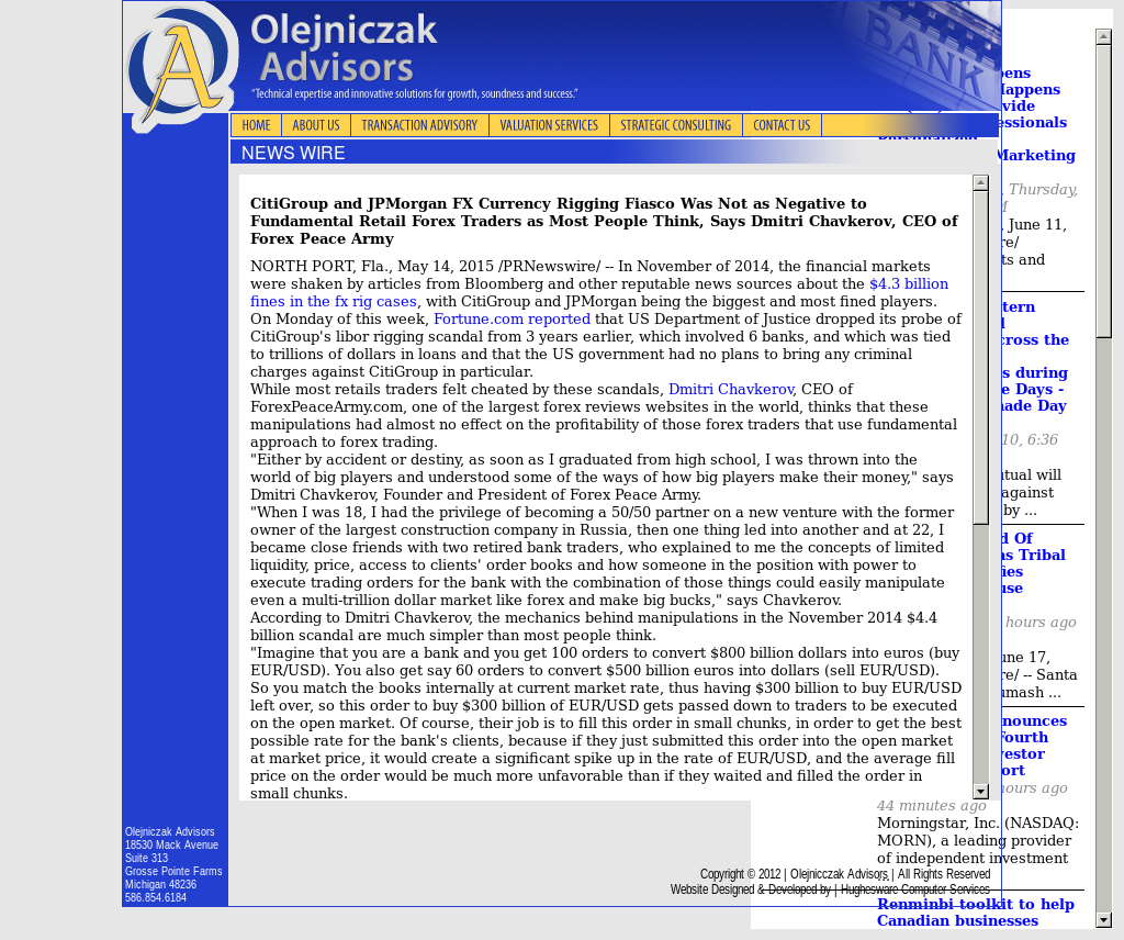CitiGroup and JPMorgan Currency Rigging Olejniczak Advisors by Dmitri Chavkerov