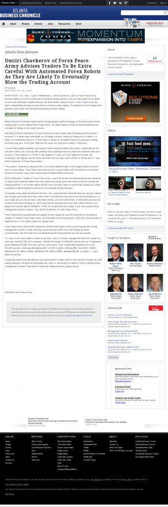 Trading Robots will Blow Trading Account Atlanta Business Chronicle by Dmitri Chavkerov