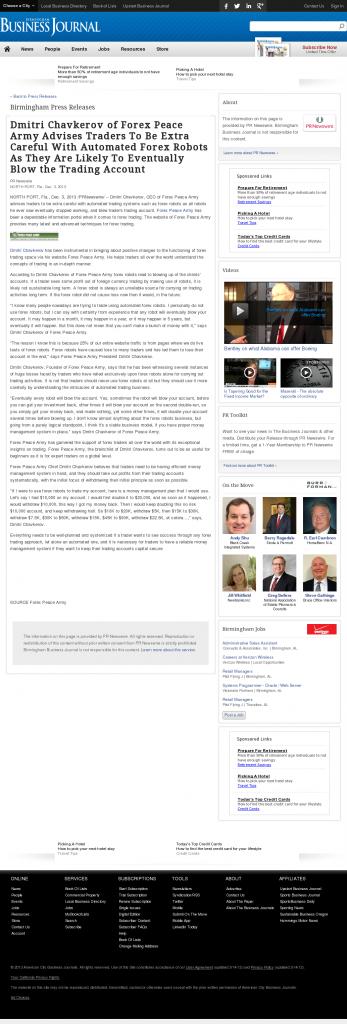 Trading Robots will Blow Trading Account Birmingham Business Journal by Dmitri Chavkerov
