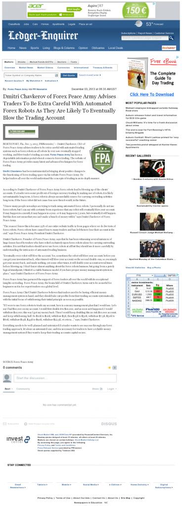 Trading Robots will Blow Trading Account Columbus Ledger-Enquirer (Columbus, GA) by Dmitri Chavkerov