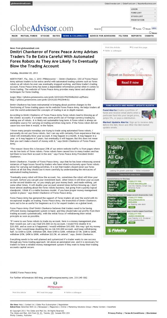 Trading Robots will Blow Trading Account Globe Advisor by Dmitri Chavkerov