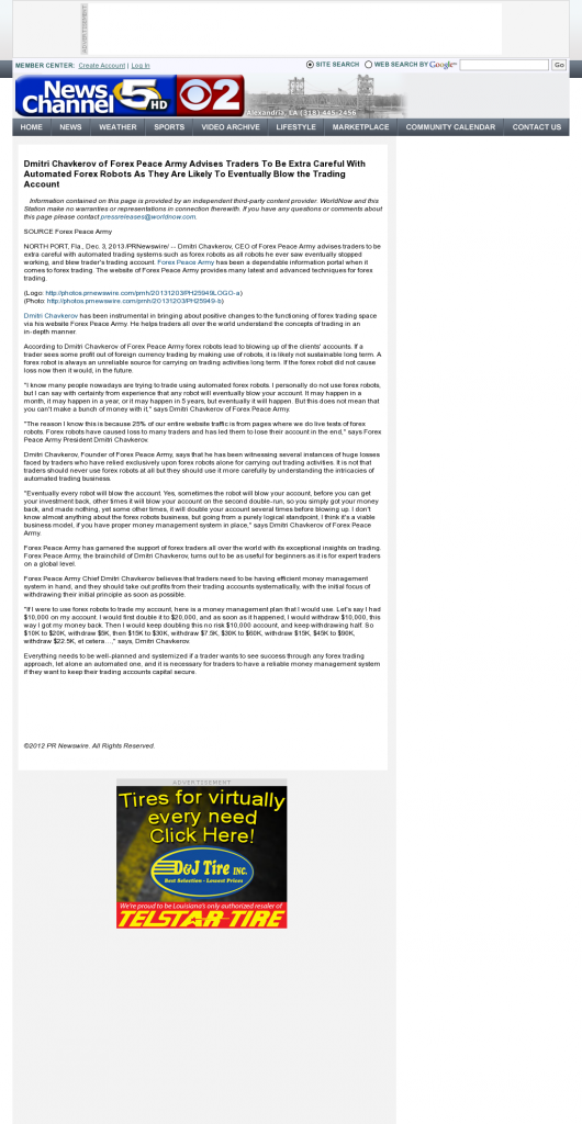 Trading Robots will Blow Trading Account KALB-TV CBS-2 / NBC-5 (Alexandria, LA) by Dmitri Chavkerov