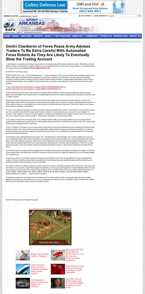 Trading Robots will Blow Trading Account KATV-TV ABC-7 (Little Rock, AR) by Dmitri Chavkerov