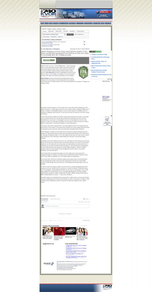 Trading Robots will Blow Trading Account KVOR 740-AM (Colorado Springs, CO) by Dmitri Chavkerov