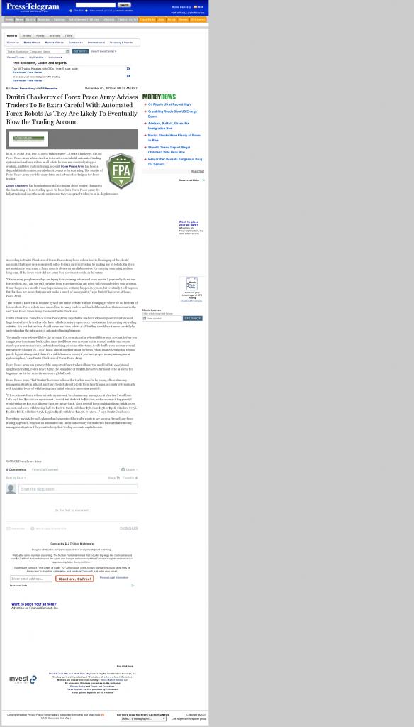 Trading Robots will Blow Trading Account Long Beach Press-Telegram (Long Beach, CA) by Dmitri Chavkerov