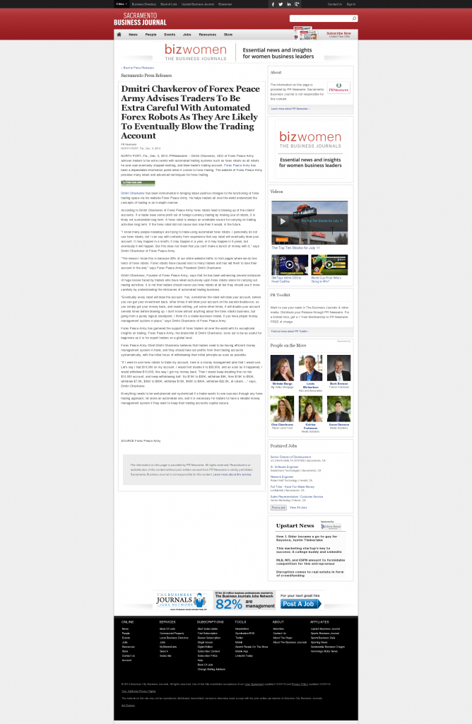 Trading Robots will Blow Trading Account Sacramento Business Journal by Dmitri Chavkerov