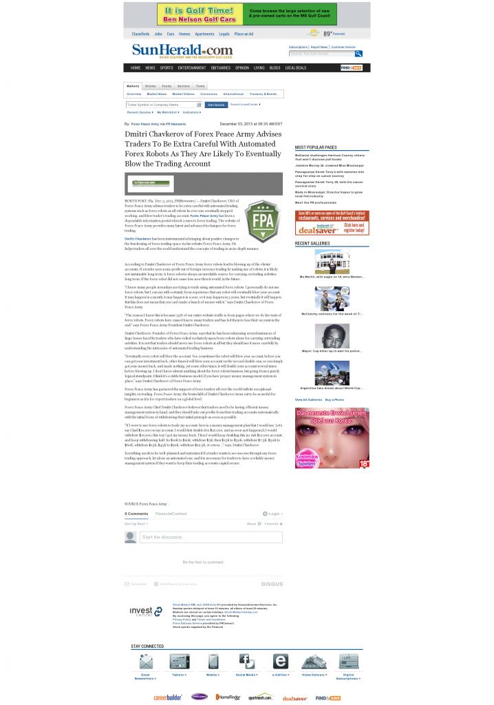 Trading Robots will Blow Trading Account Sun Herald (Biloxi, MS) by Dmitri Chavkerov