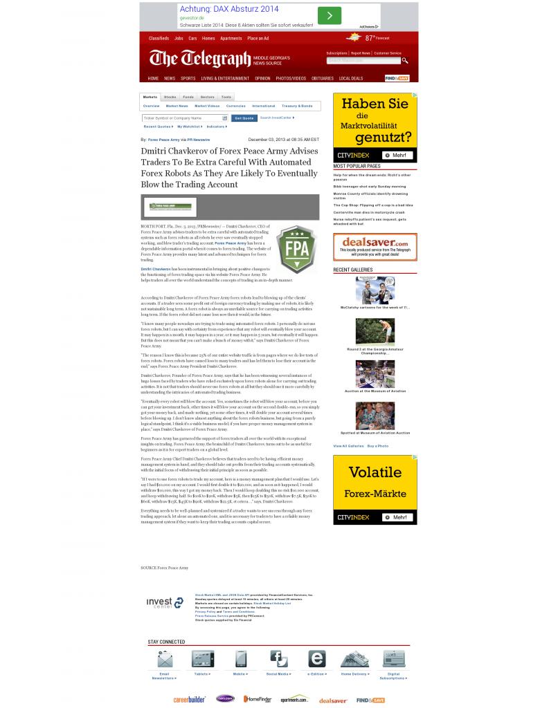 Trading Robots will Blow Trading Account Telegraph-Macon (Macon, GA) by Dmitri Chavkerov