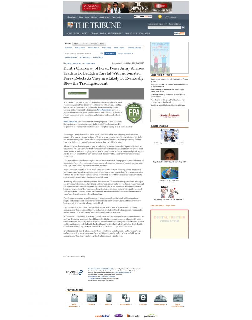 Trading Robots will Blow Trading Account Tribune (San Luis Obispo, CA) by Dmitri Chavkerov
