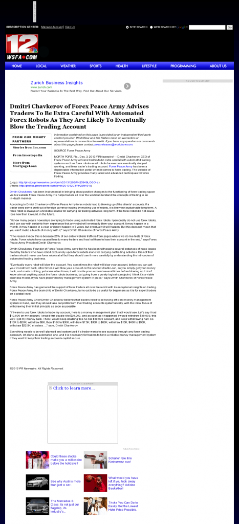 Trading Robots will Blow Trading Account WSFA NBC-12 (Montgomery, AL) by Dmitri Chavkerov