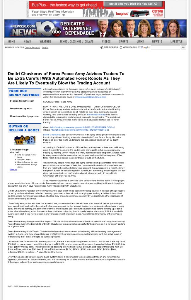 Trading Robots will Blow Trading Account WTEN ABC-10 (Albany, NY) by Dmitri Chavkerov