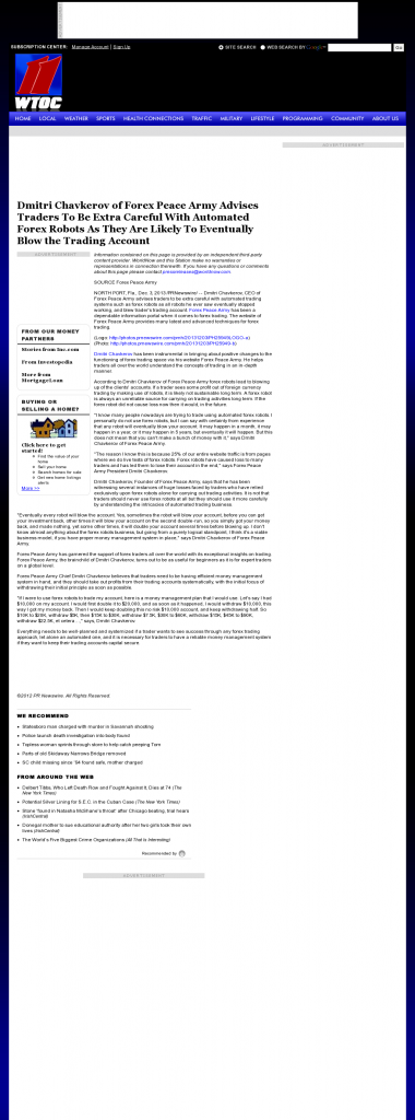 Trading Robots will Blow Trading Account WTOC CBS-11 (Savannah, GA) by Dmitri Chavkerov