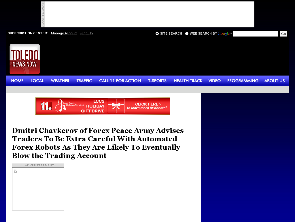 Trading Robots will Blow Trading Account WTOL CBS-11 (Toledo, OH) by Dmitri Chavkerov