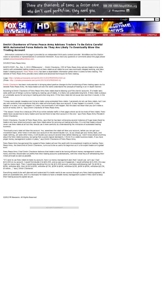 Trading Robots will Blow Trading Account WXTX-TV FOX-54 (Columbus, GA) by Dmitri Chavkerov