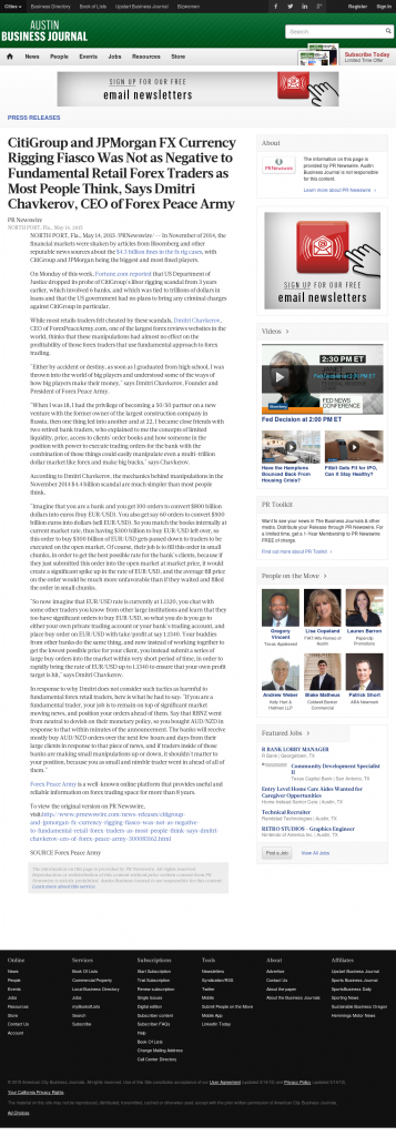 CitiGroup and JPMorgan Currency Rigging Austin Business Journal by Dmitri Chavkerov