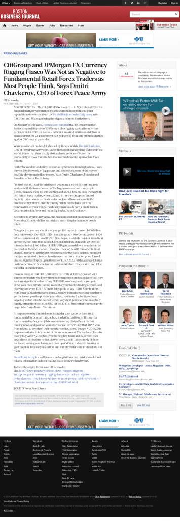 CitiGroup and JPMorgan Currency Rigging Boston Business Journal by Dmitri Chavkerov