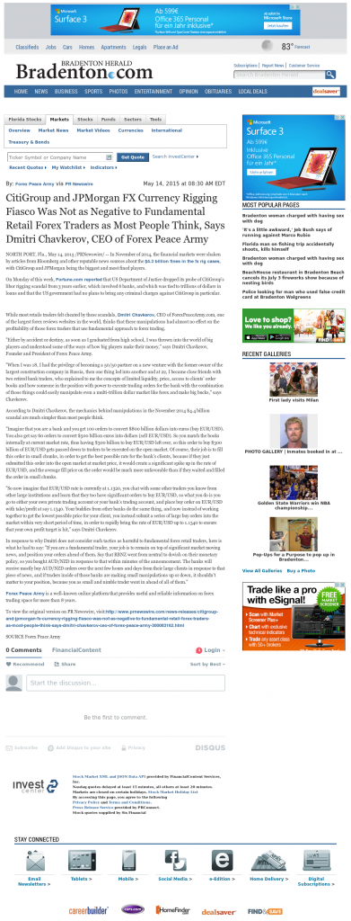 CitiGroup and JPMorgan Currency Rigging Bradenton Herald (Bradenton, FL) by Dmitri Chavkerov