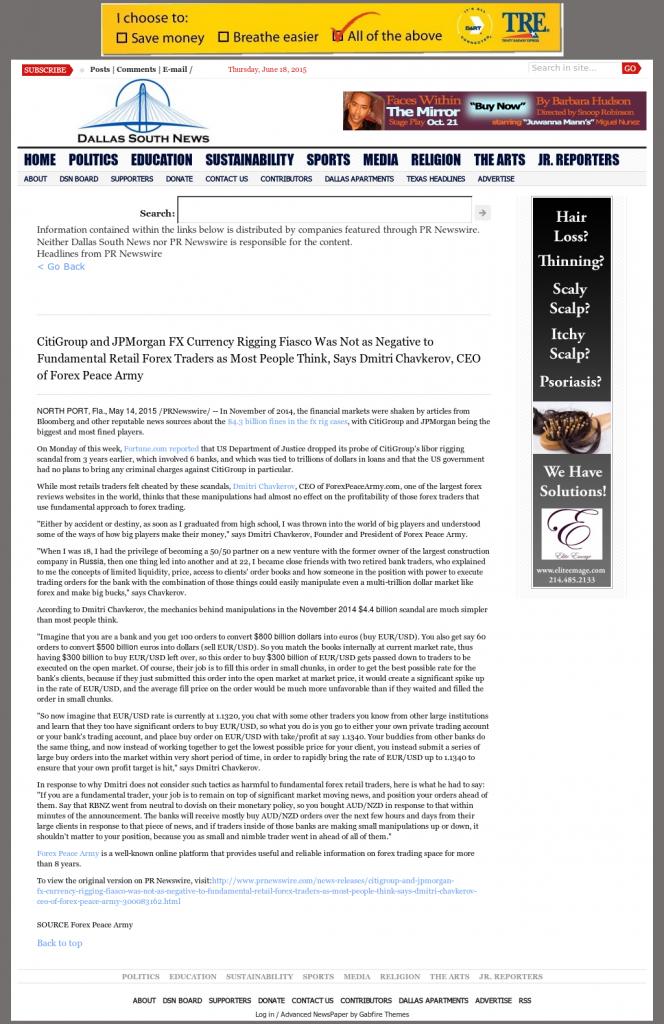 CitiGroup and JPMorgan Currency Rigging Dallas South News by Dmitri Chavkerov