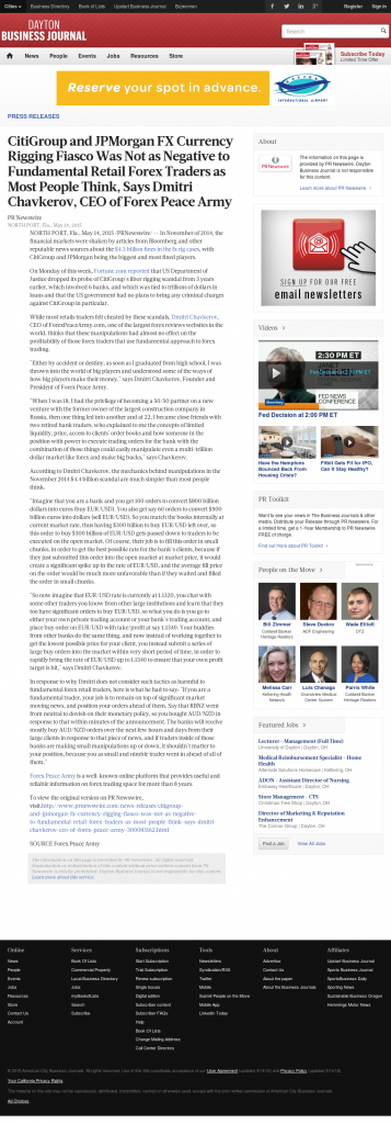 CitiGroup and JPMorgan Currency Rigging Dayton Business Journal by Dmitri Chavkerov