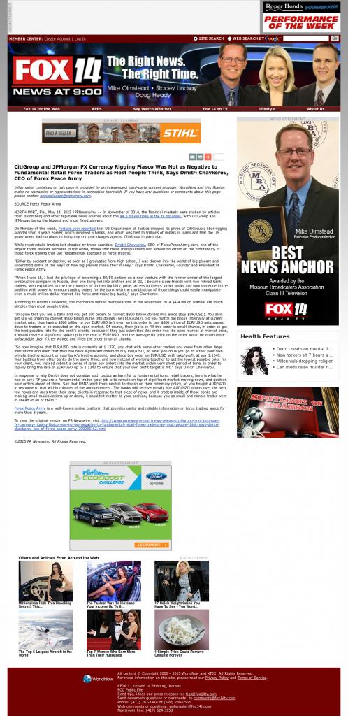 CitiGroup and JPMorgan Currency Rigging KFJX-TV FOX-14 (Pittsburg, KS) by Dmitri Chavkerov