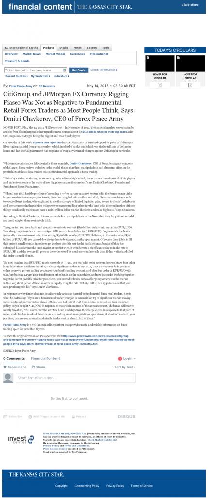 CitiGroup and JPMorgan Currency Rigging Kansas City Star by Dmitri Chavkerov