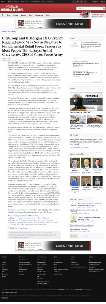 CitiGroup and JPMorgan Currency Rigging Portland Business Journal by Dmitri Chavkerov