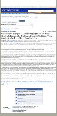 CitiGroup and JPMorgan Currency Rigging  SiliconValley.com (Silicon Valley, CA)  by Dmitri Chavkerov