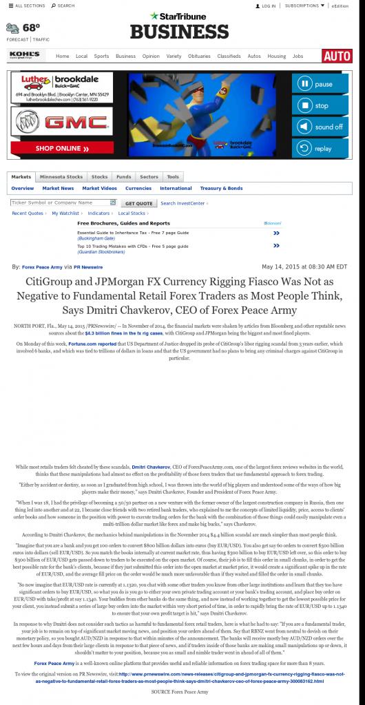 CitiGroup and JPMorgan Currency Rigging Star Tribune (Minneapolis, MN) by Dmitri Chavkerov