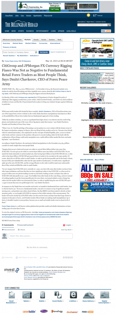 CitiGroup and JPMorgan Currency Rigging The Bellingham Herald by Dmitri Chavkerov