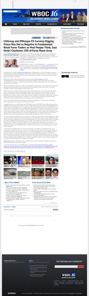 CitiGroup and JPMorgan Currency Rigging WBOC CBS-16 (Salisbury, MD) by Dmitri Chavkerov