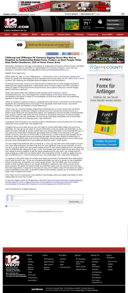 CitiGroup and JPMorgan Currency Rigging WBOY-TV NBC-12 (Clarksburg, WV) by Dmitri Chavkerov