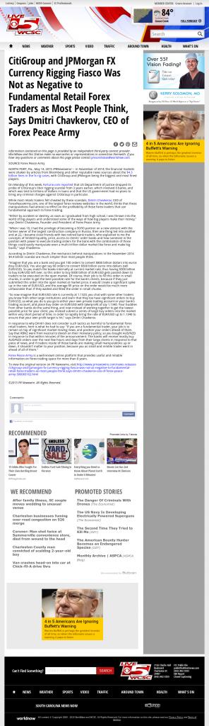 CitiGroup and JPMorgan Currency Rigging WCSC CBS-5 (Charleston, SC) by Dmitri Chavkerov