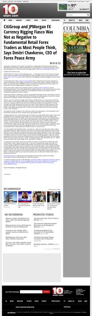 CitiGroup and JPMorgan Currency Rigging WISTV NBC-10 (Columbia, SC) by Dmitri Chavkerov
