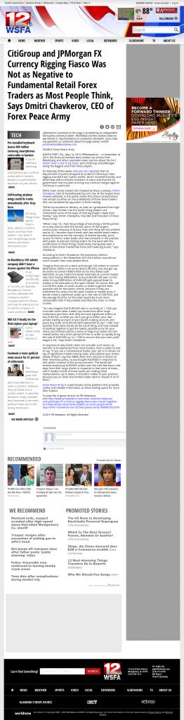 CitiGroup and JPMorgan Currency Rigging WSFA NBC-12 (Montgomery, AL) by Dmitri Chavkerov