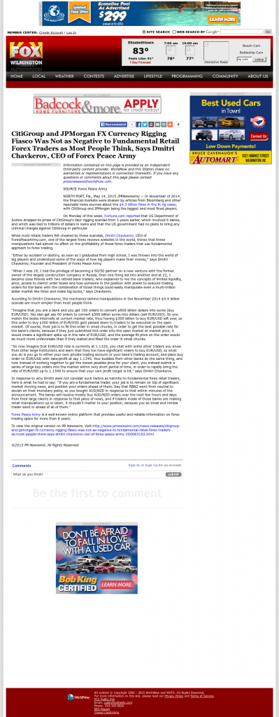 CitiGroup and JPMorgan Currency Rigging WSFX-TV FOX-26 (Wilmington, NC) by Dmitri Chavkerov