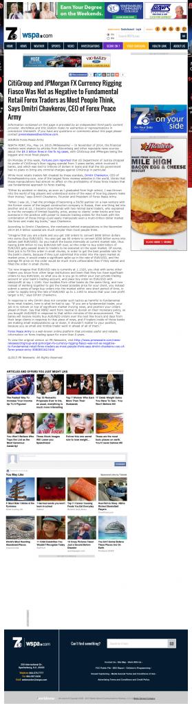 CitiGroup and JPMorgan Currency Rigging WSPA-TV CBS-7 (Spartanburg, SC) by Dmitri Chavkerov